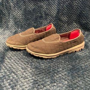 Gray Sketchers Go Walk Memory Fur Slide On Shoes
